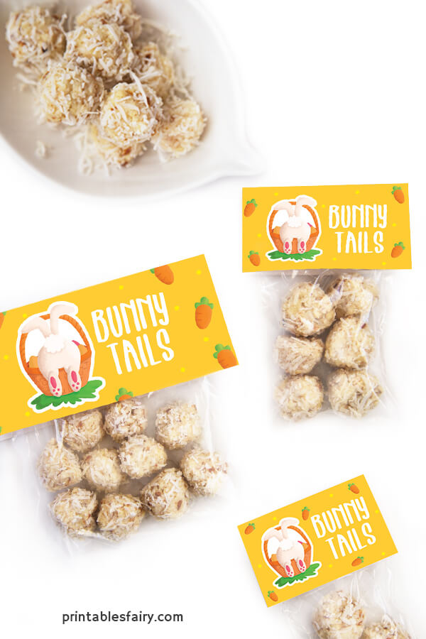 Bags of Coconut balls with toppers that read Bunny Tails next to a bunny illustration