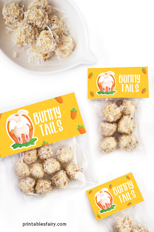 Bags of Coconut balls with toppers that read Bunny Tails next to a bunny tail illustration