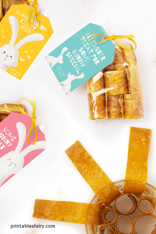 Mango Fruit Leather rolls in transparent bags with Some bunny loves you gift tags