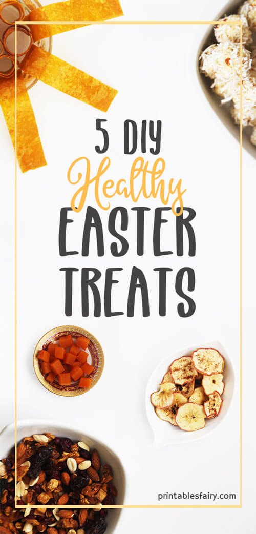 5 DIY Healthy Easter Treats on a white table