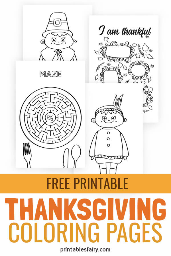 Thanksgiving Coloring Pages - The Printables Fairy