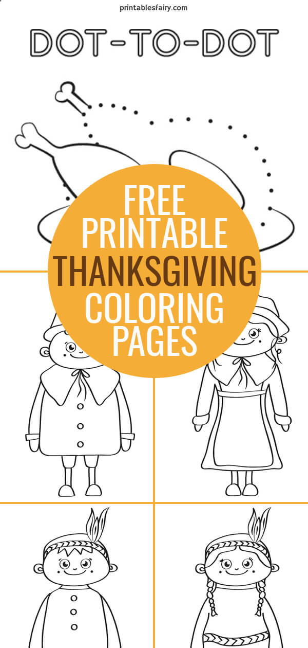 Make this mini coloring book with these free printable Thanksgiving coloring pages