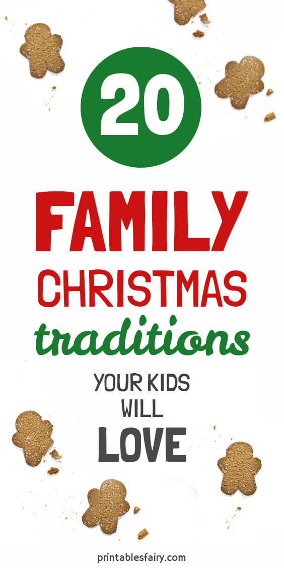 Gingerbread men cookies on a white table overlayed with the text: 20 Family Christmas Traditions your kids will love!