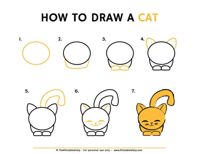 How to draw a cat instructions