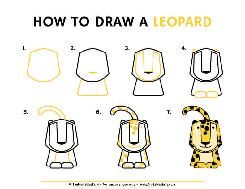 How to draw a leopard instructions