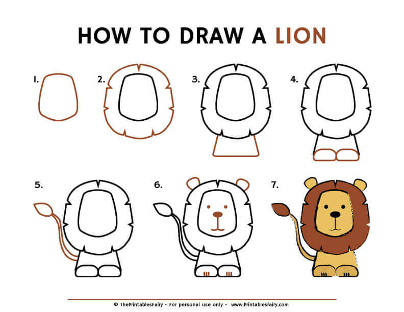 How to draw a lion instructions