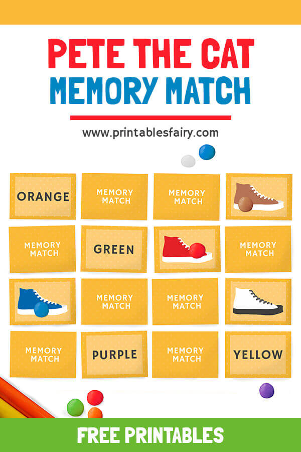 Pete The Cat Memory match Cards
