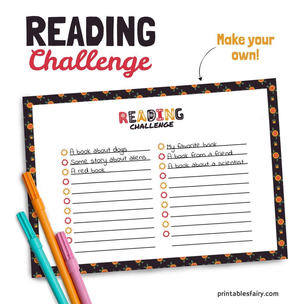 Empty Reading Challenge Checklist