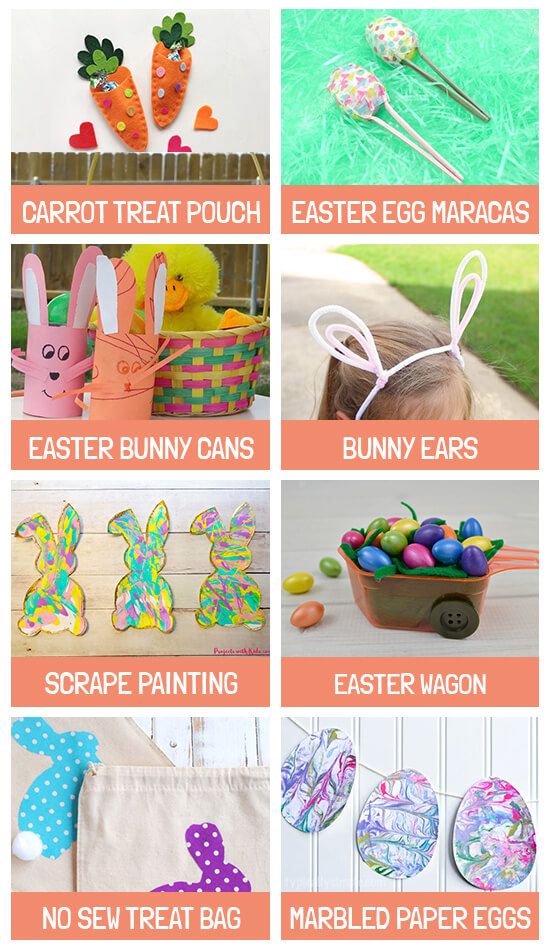 Collage of crafts: Carrot treat pouch, Maracas, Bunny cans, Bunny ears, Scrape painting, Easter wagon, No sew treat bags and Marbled paper eggs