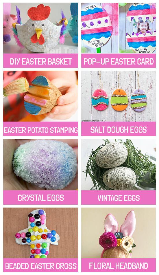 Collage of crafts: DIY Easter basket, Pop-up egg card, Potato stamping, Salt dough eggs, Crystal eggs, Vintage eggs, Beaded Easter cross and floral headband
