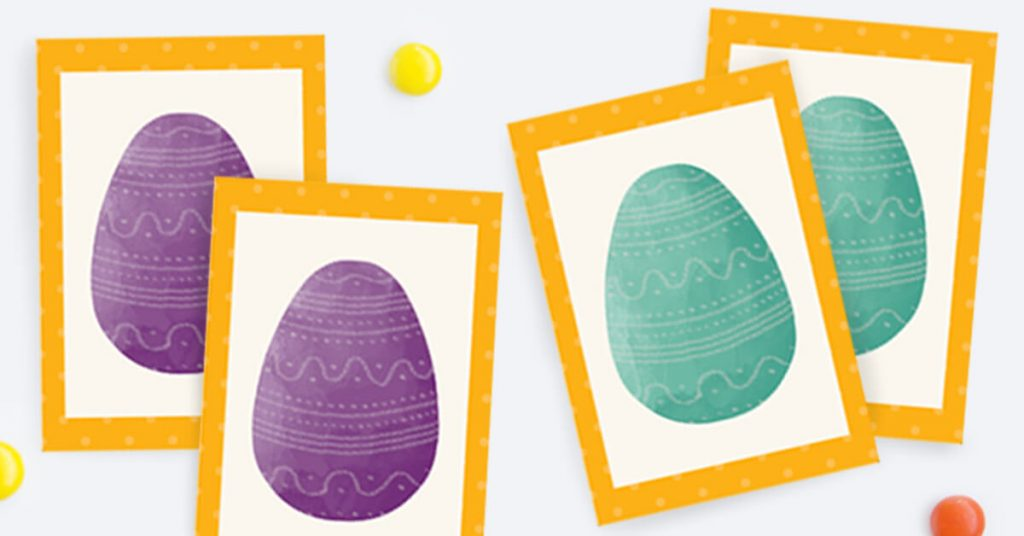 Easter cards showing the mint and purple eggs matched