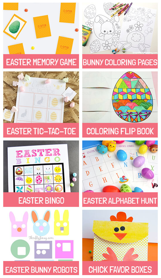 Collage of activities: Easter memory game, Bunny coloring pages, Tic-Tac-Toe, Coloring flip book, Easter bingo, Alphabet hunt, Bunny robots and Chick boxes