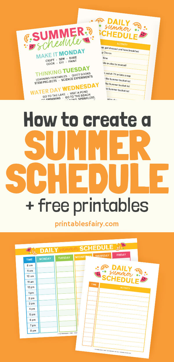Summer Schedules on an orange table
