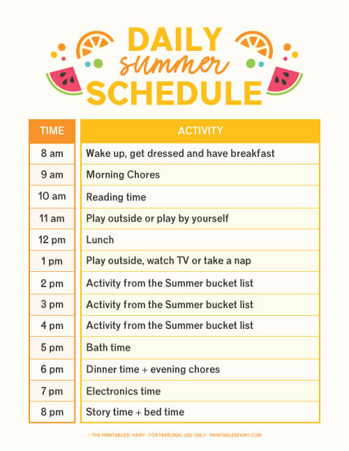 Our daily summer schedule from 8 am till 8 pm