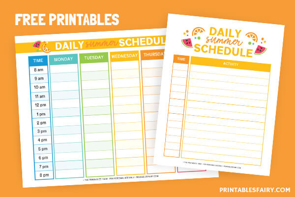 Fill-in summer schedule templates on an orange table