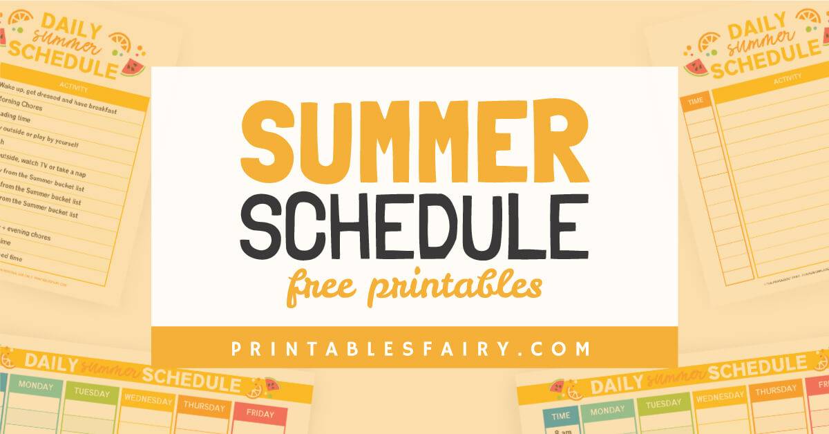 Free Printable Summer Schedule