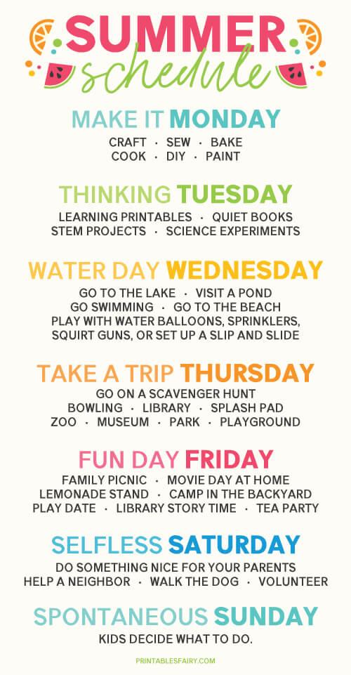 Summer Schedule Infographic