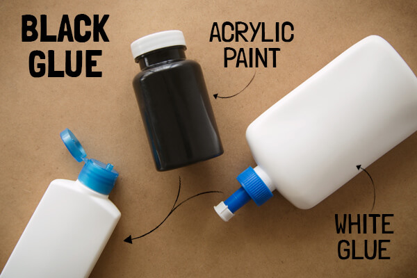 Black Glue Materials: Acrylic paint and White glue