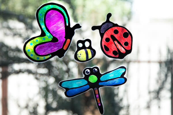 Suncatchers hanging on a window