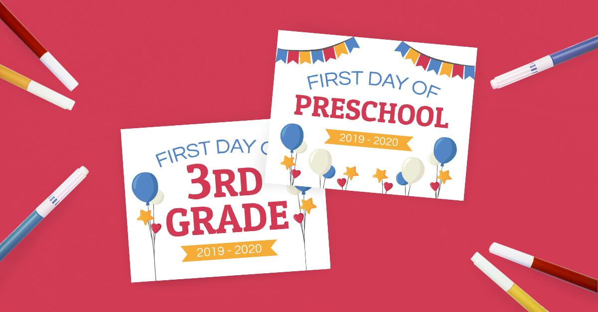 picture regarding First Day of School Printable named Initially Working day of Higher education Symptoms (Absolutely free Printables) - The Printables