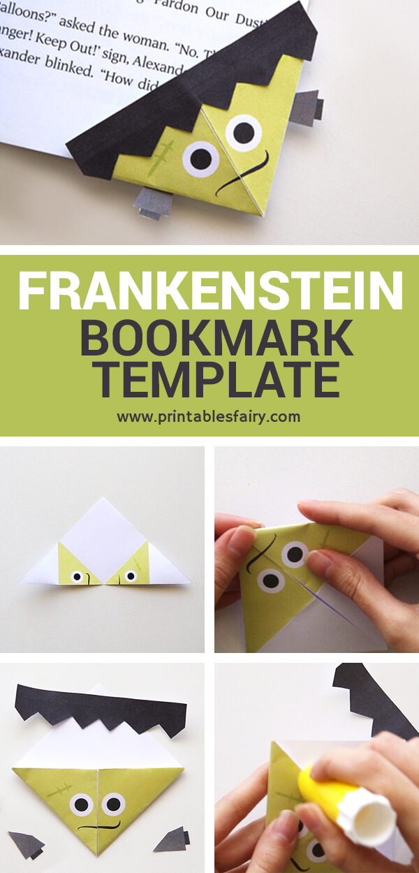 Frankenstein Bookmark with template and instructions
