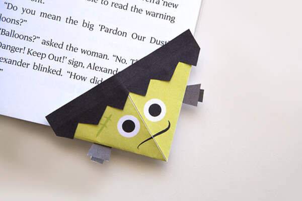 Frankenstein Bookmark Origami Craft