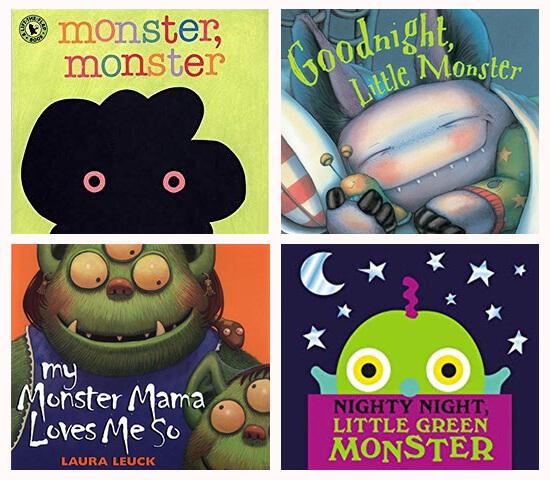 Book covers of: Monster, monster; Goodnight, little monster; My monster mama loves me so; and Night, night little green monster