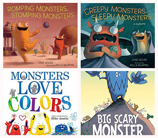 Book covers of: Romping monsters, stomping monsters Creepy monsters, sleepy monsters; Monsters love colors; and Big scary monster