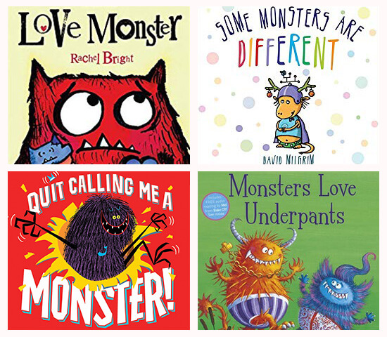 Book covers of: Love monster, Some monsters are different, Quit calling me a monster, and Monsters love underpants.