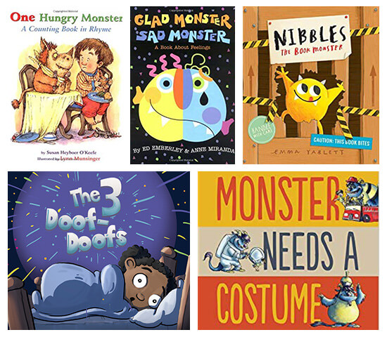 Book covers of: One hungry monster, Glad monster Sad Monster, Nibbles the monster book, The 3 doof-doofs, and Monster needs a costume.