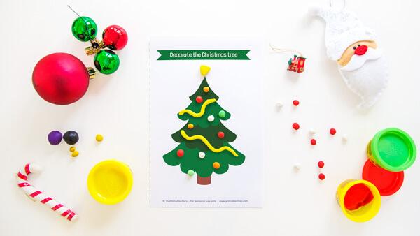 Christmas Tree Play Dough Mat