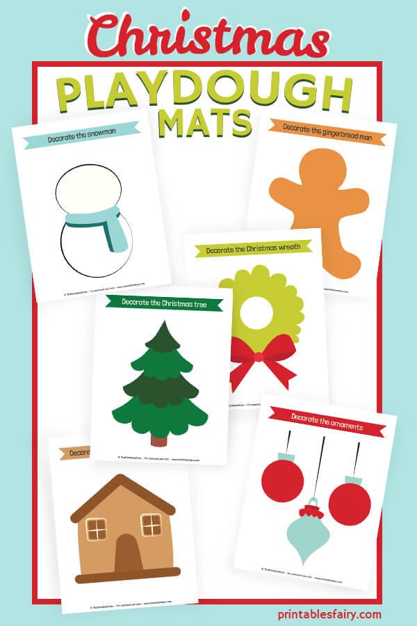 Printable Christmas Playdough Mats