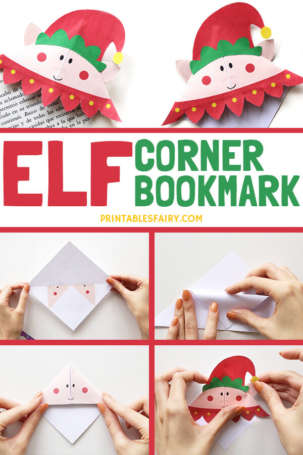 Printable Elf origami bookmark