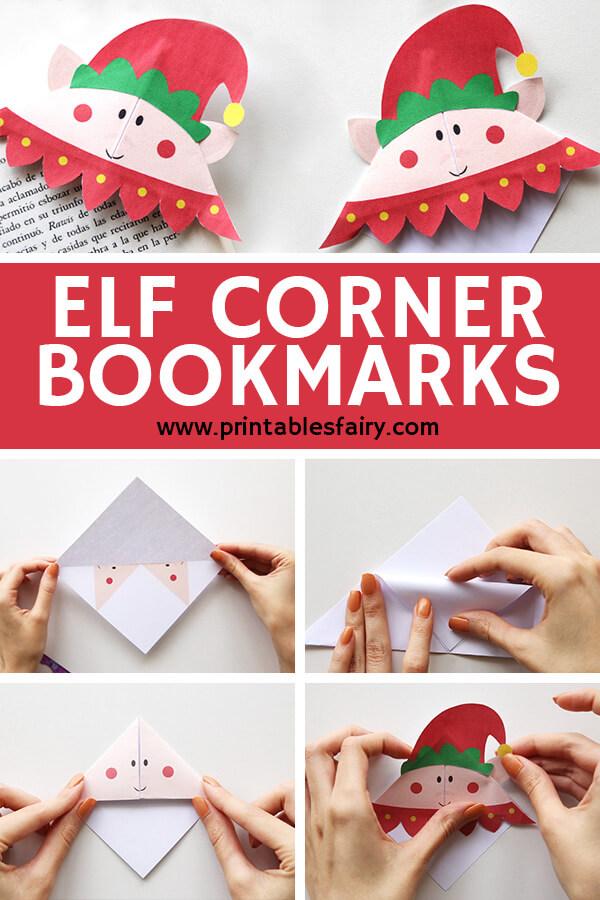 Printable Elf origami bookmark