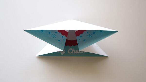Fold inwards to make a triangle
