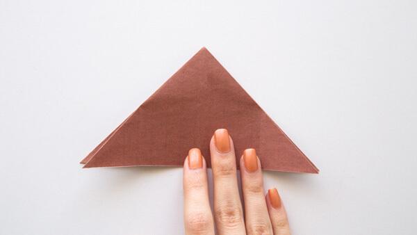 Fold trunk into a triangle