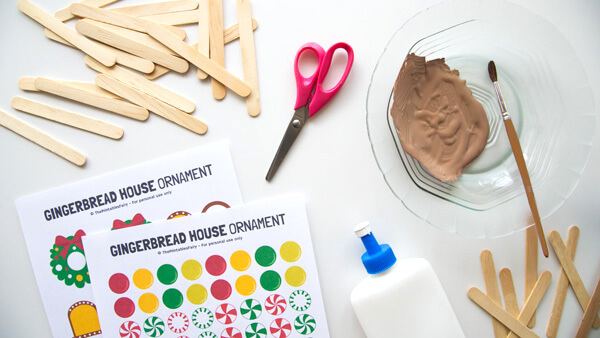 Materials to build a gingerbread house