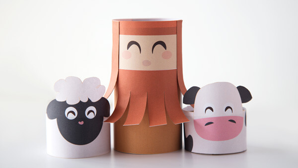 Shepherd, cow, and sheep puppets