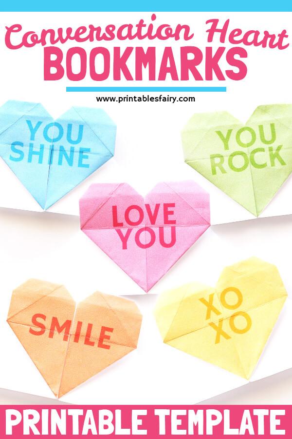 Conversation Hearts Corner Bookmarks