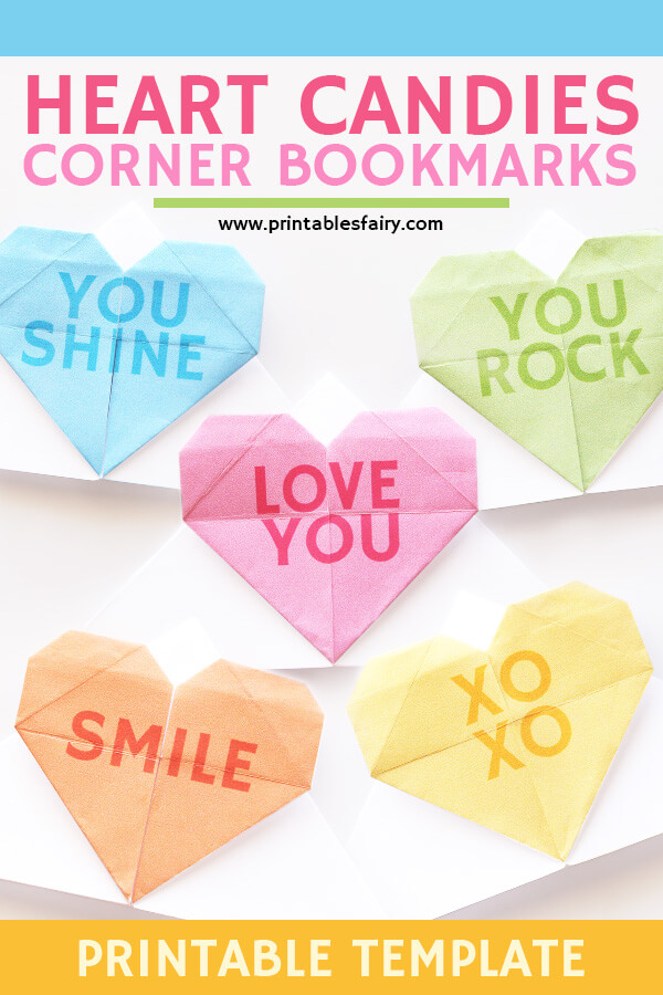 Conversation Heart Corner Bookmarks