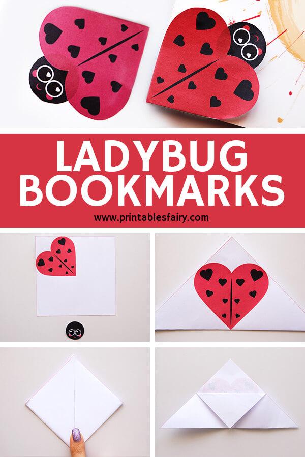 How to make a ladybug corner bookmark