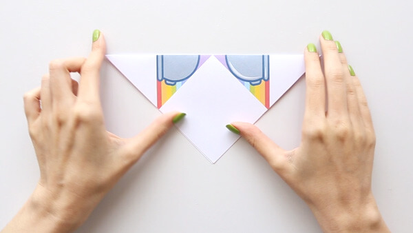 Fold in half diagonally