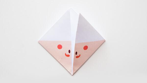 Fold corners toward the top