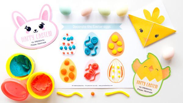 Easter eggs playdough mat