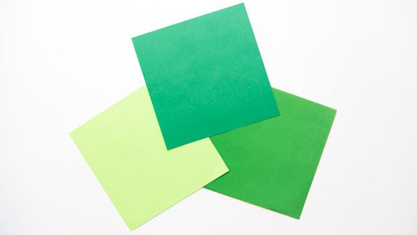 Three paper squares
