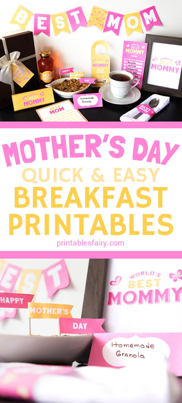 Mother's Day quick and easy breakfast printables