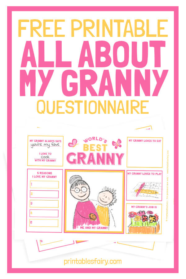 Free Printable All About My Granny