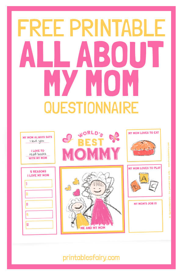 Free Printable All About My Mom
