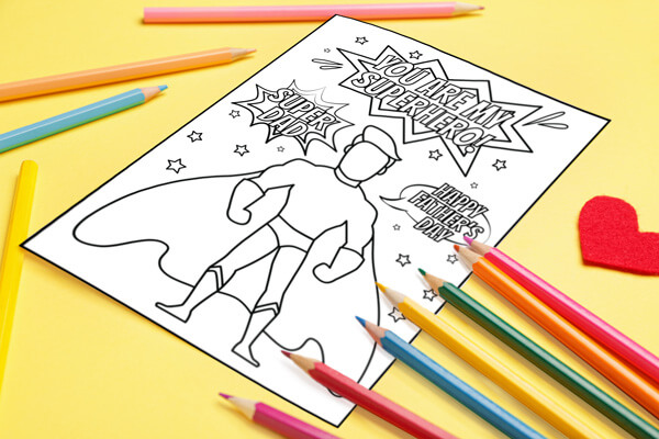 Father's Day Superhero Coloring Card