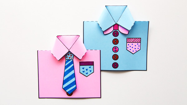 Pink and Blue Shirt Cards For Dad